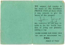 light green Eel Pie Passport from 1963 - inner