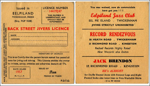 Eel Pie jiving license (1957)